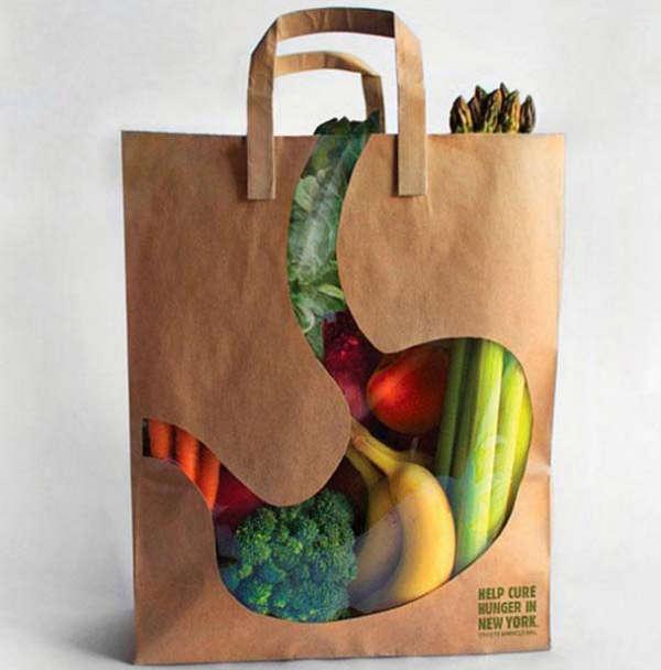 25个极具创意的产品包装设计欣赏-健康的胃购物袋设计