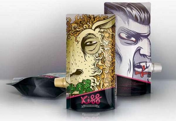 25个极具创意的产品包装设计欣赏-卡通吸允式饮料包装