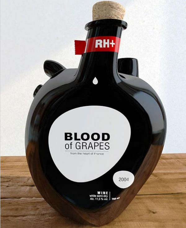 25个极具创意的产品包装设计欣赏-心形葡萄酒包装设计