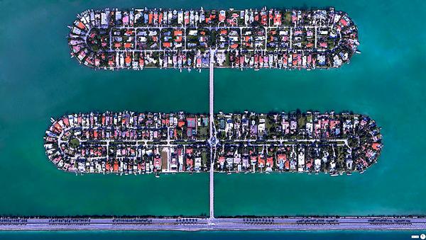 29张太空中的卫星拍摄的地球照片-美国,佛罗里达州,迈阿密海滩,芙蓉岛和棕榈岛