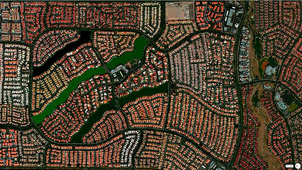 29张太空中的卫星拍摄的地球照片-美国,内达华州,拉斯维加斯,沙漠海岸社区
