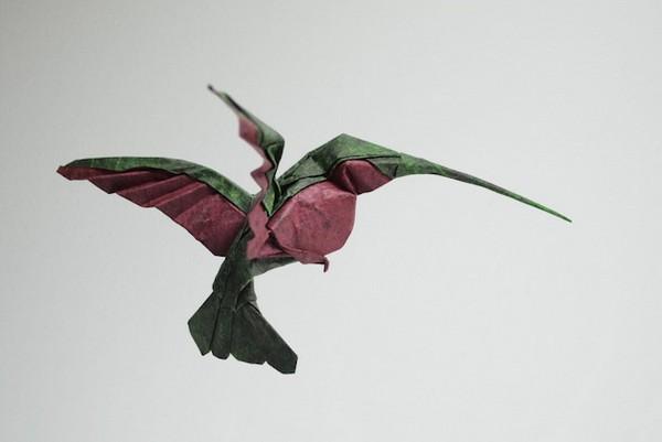 湿折式蜂鸟折纸
