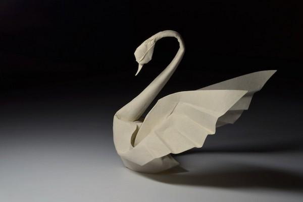 湿折式天鹅折纸