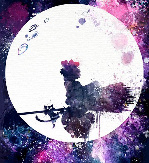Penelope Paws 文艺范的卡通水彩画,巫女