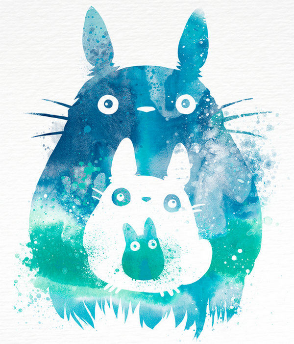 Penelope Paws 文艺范的卡通水彩画,龙猫