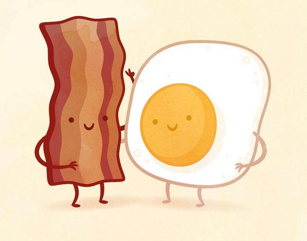 Philip Tseng 美味食物配对插画集,培根和鸡蛋