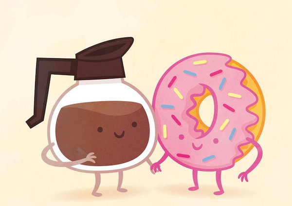 Philip Tseng 美味食物配对插画集,咖啡和甜甜圈