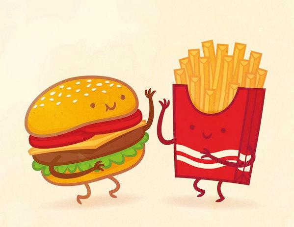 Philip Tseng 美味食物配对插画集,汉堡和薯条