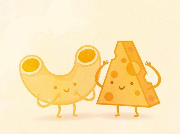 Philip Tseng 美味食物配对插画集,通心粉和奶酪