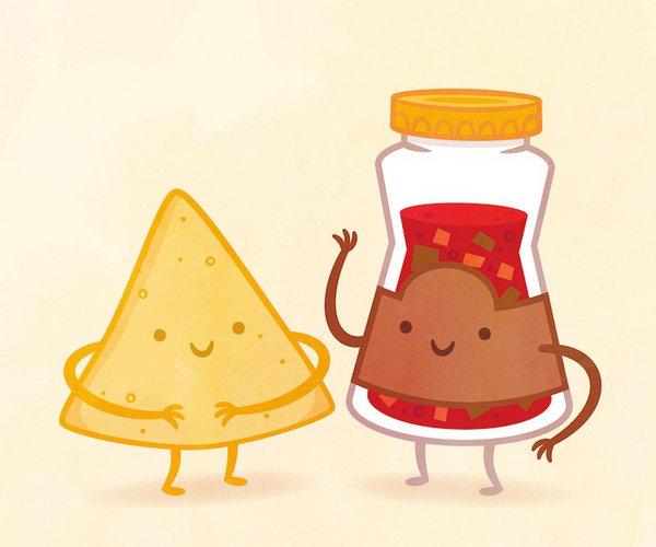 Philip Tseng 美味食物配对插画集,薯片和番茄酱