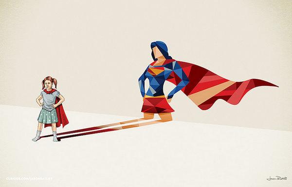 Jason Ratliff 超级背影儿童梦幻插画,女超人