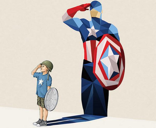 Jason Ratliff 超级背影儿童梦幻插画,美国队长