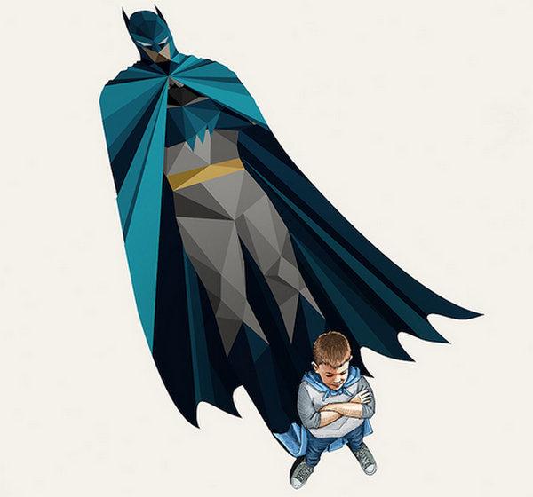 Jason Ratliff 超级背影儿童梦幻插画,蝙蝠侠