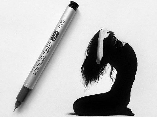 Johanna 单色铅笔素描作品集