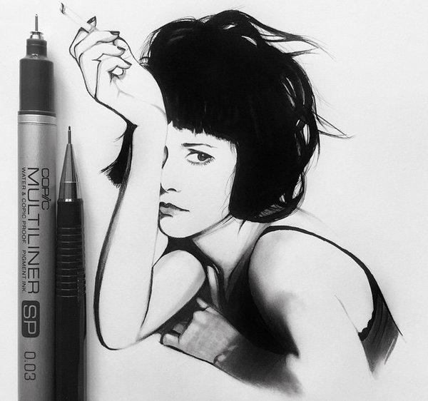 Johanna 单色铅笔素描作品集3
