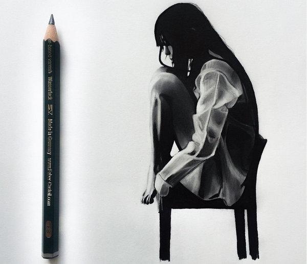 Johanna 单色铅笔素描作品集5
