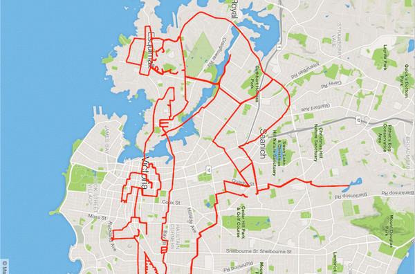 Stephen Lund:环城自行车GPS地图涂鸦