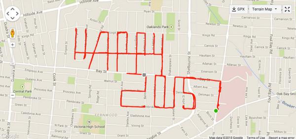 Stephen Lund:环城自行车GPS地图涂鸦2