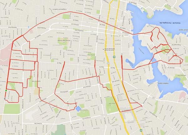 Stephen Lund:环城自行车GPS地图涂鸦4