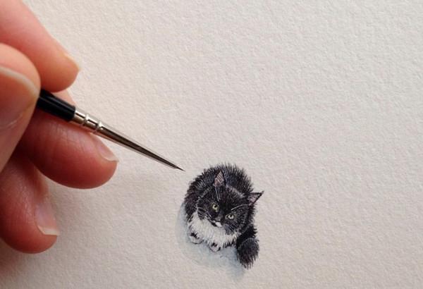 Rothshank 小小的微型铅笔画-猫