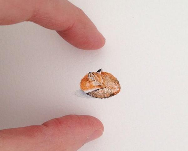 Rothshank 小小的微型铅笔画-狐狸