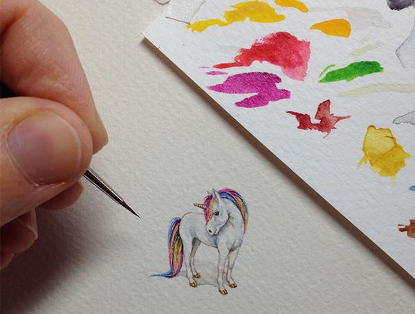 Rothshank 小小的微型铅笔画-独角兽