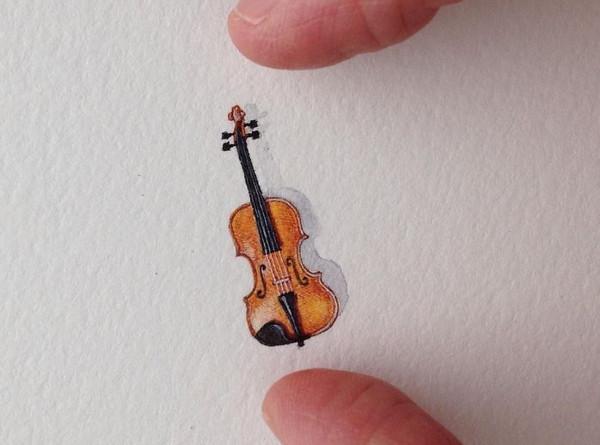 Rothshank 小小的微型铅笔画-小提琴