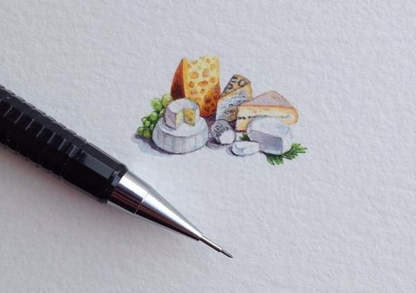 Rothshank 小小的微型铅笔画-奶酪
