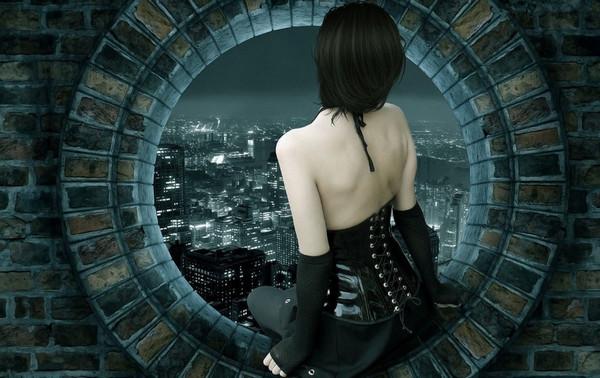《背影》只可远观不可亵渎壁纸,窗户,美女