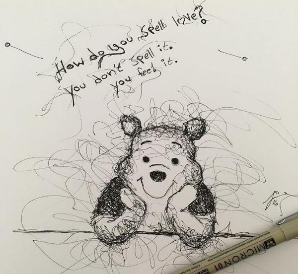 手绘维尼熊