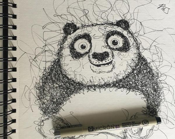 手绘功夫熊猫