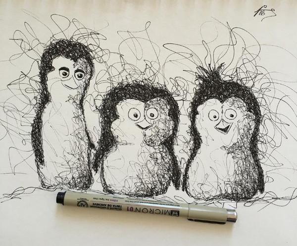 手绘马达加斯加企鹅