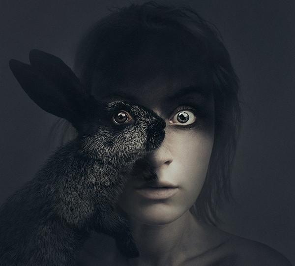 Flora Borsi 兔子与人之眼创意摄影