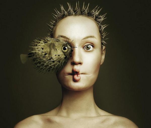 Flora Borsi 河豚与人之眼创意摄影