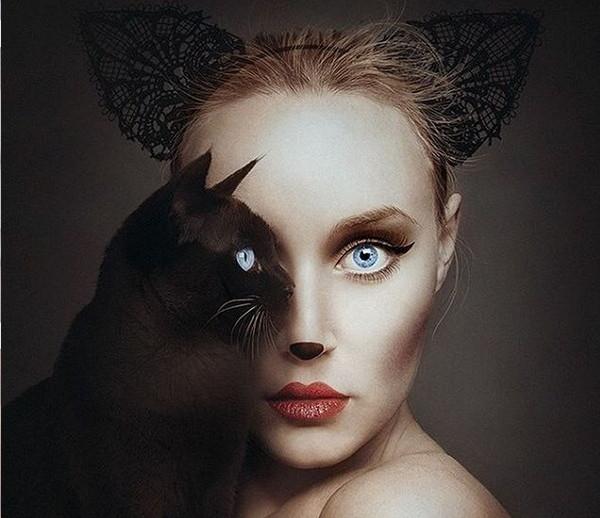 Flora Borsi 黑猫与人之眼创意摄影