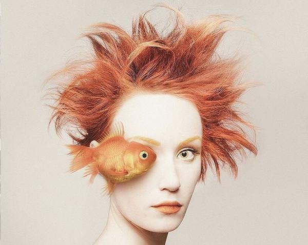 Flora Borsi 金鱼与人之眼创意摄影
