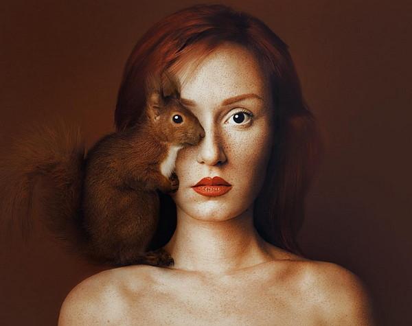 Flora Borsi 松鼠与人之眼创意摄影