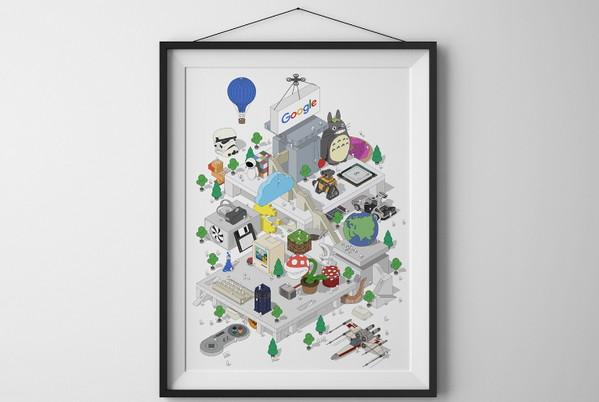 谷歌办公室海报