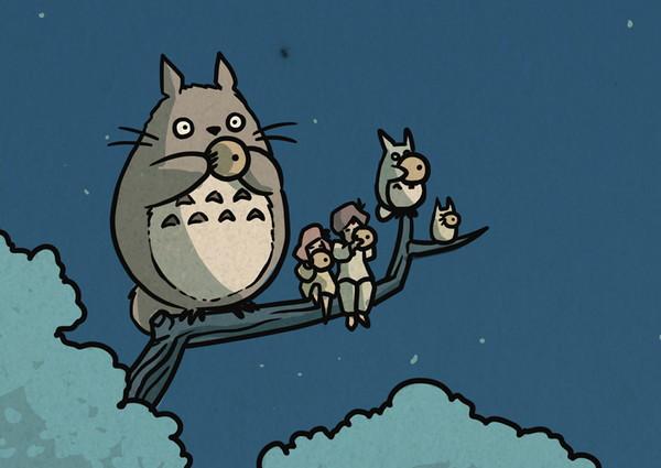 浮世绘风格龙猫