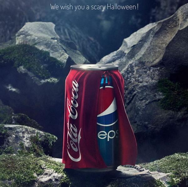 希望你有一个惊恐的万圣节,如何惊恐?那就披上可口可乐的外衣。广告公司:Buzz in a Box,比利时